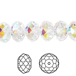 bead, swarovski crystals, crystal passions, crystal ab, 12x8mm faceted rondelle (5040). sold per pkg of 12.