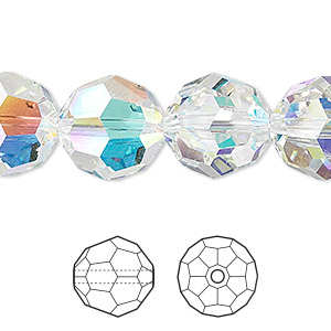 bead, swarovski crystals, crystal passions, crystal ab, 14mm faceted round (5000). sold per pkg of 24.