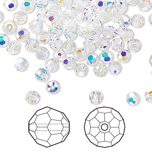 bead, swarovski crystals, crystal passions, crystal ab, 4mm faceted round (5000). sold per pkg of 720 (5 gross).