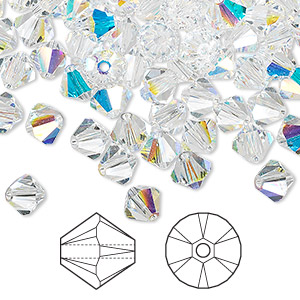 bead, swarovski crystals, crystal passions, crystal ab, 6mm xilion bicone (5328). sold per pkg of 144 (1 gross).