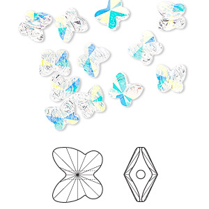 bead, swarovski crystals, crystal passions, crystal ab, 6x5mm faceted butterfly (5754). sold per pkg of 144 (1 gross).