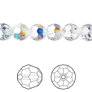 bead, swarovski crystals, crystal passions, crystal ab, 8mm faceted round (5000). sold per pkg of 12.