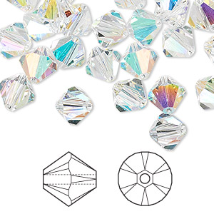 bead, swarovski crystals, crystal passions, crystal ab, 8mm xilion bicone (5328). sold per pkg of 72.