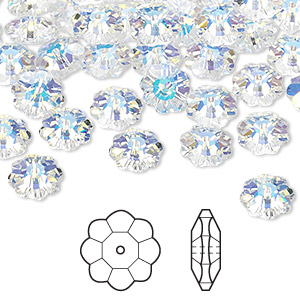 bead, swarovski crystals, crystal passions, crystal ab, 8x3mm faceted marguerite lochrose flower (3700). sold per pkg of 144 (1 gross).