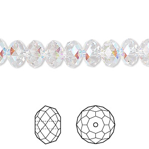 bead, swarovski crystals, crystal passions, crystal ab, 8x6mm faceted rondelle (5040). sold per pkg of 12.