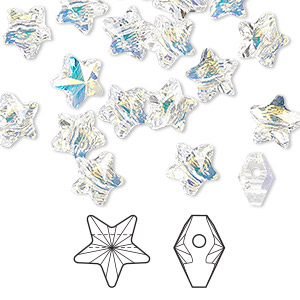 bead, swarovski crystals, crystal passions, crystal ab, 8x8mm faceted star (5714). sold per pkg of 24.