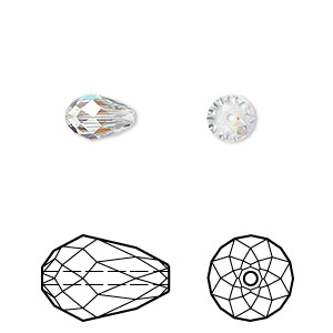 bead, swarovski crystals, crystal passions, crystal ab, 9x6mm faceted teardrop (5500). sold per pkg of 2.
