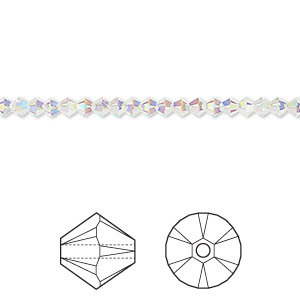 bead, swarovski crystals, crystal passions, crystal ab2x, 3mm xilion bicone (5328). sold per pkg of 144 (1 gross).