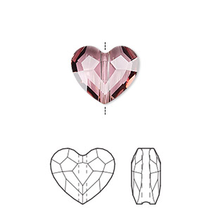 bead, swarovski crystals, crystal passions, crystal antique pink, 12mm faceted love (5741). sold per pkg of 2.