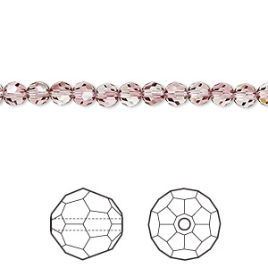 bead, swarovski crystals, crystal passions, crystal antique pink, 4mm faceted round (5000). sold per pkg of 12.