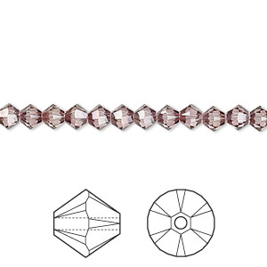 bead, swarovski crystals, crystal passions, crystal antique pink, 4mm xilion bicone (5328). sold per pkg of 48.