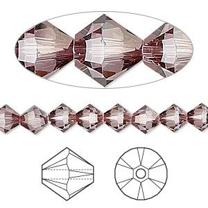 bead, swarovski crystals, crystal passions, crystal antique pink, 6mm xilion bicone (5328). sold per pkg of 144 (1 gross).