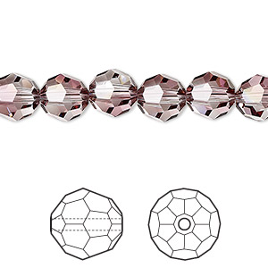 bead, swarovski crystals, crystal passions, crystal antique pink, 8mm faceted round (5000). sold per pkg of 12.
