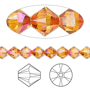bead, swarovski crystals, crystal passions, crystal astral pink, 6mm xilion bicone (5328). sold per pkg of 24.