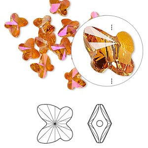 bead, swarovski crystals, crystal passions, crystal astral pink, 6x5mm faceted butterfly (5754). sold per pkg of 12.