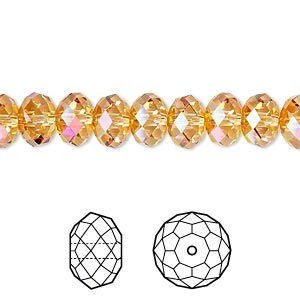 bead, swarovski crystals, crystal passions, crystal astral pink, 8x6mm faceted rondelle (5040). sold per pkg of 144 (1 gross).