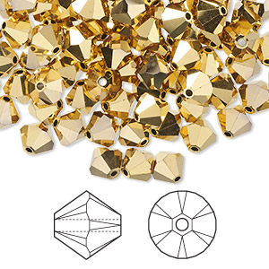 bead, swarovski crystals, crystal passions, crystal aurum 2x, 6mm xilion bicone (5328). sold per pkg of 144 (1 gross).