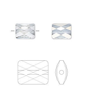 bead, swarovski crystals, crystal passions, crystal blue shade, 10x8mm faceted mini rectangle (5055). sold per pkg of 2.