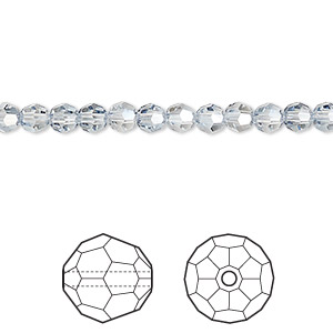 bead, swarovski crystals, crystal passions, crystal blue shade, 4mm faceted round (5000). sold per pkg of 12.