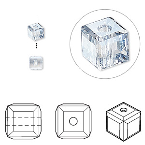 bead, swarovski crystals, crystal passions, crystal blue shade, 4x4mm faceted cube (5601). sold per pkg of 48.