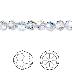 bead, swarovski crystals, crystal passions, crystal blue shade, 6mm faceted round (5000). sold per pkg of 144 (1 gross).