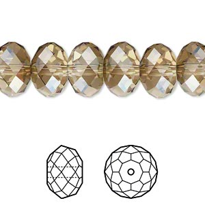bead, swarovski crystals, crystal passions, crystal bronze shade, 12x8mm faceted rondelle (5040). sold per pkg of 2.