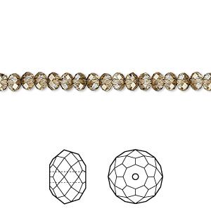 bead, swarovski crystals, crystal passions, crystal bronze shade, 4x3mm faceted rondelle (5040). sold per pkg of 720 (5 gross).