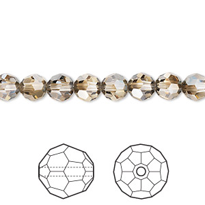 bead, swarovski crystals, crystal passions, crystal bronze shade, 6mm faceted round (5000). sold per pkg of 360.