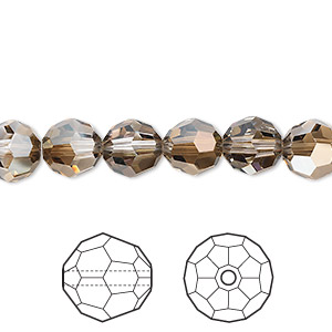 bead, swarovski crystals, crystal passions, crystal bronze shade, 8mm faceted round (5000). sold per pkg of 12.