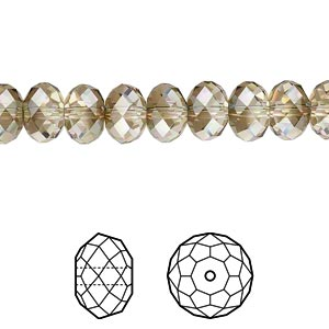 bead, swarovski crystals, crystal passions, crystal bronze shade, 8x6mm faceted rondelle (5040). sold per pkg of 12.