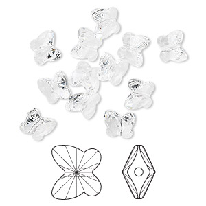 bead, swarovski crystals, crystal passions, crystal clear, 10x9mm faceted butterfly (5754). sold per pkg of 12.