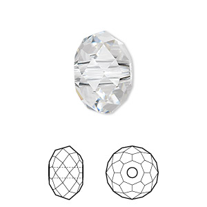 bead, swarovski crystals, crystal passions, crystal clear, 18x12mm faceted rondelle with 3.5mm hole (5041). sold individually.