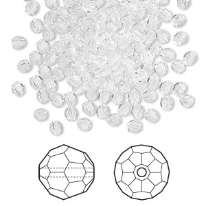 bead, swarovski crystals, crystal passions, crystal clear, 3mm faceted round (5000). sold per pkg of 720 (5 gross).