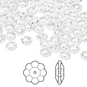 bead, swarovski crystals, crystal passions, crystal clear, 6x2mm faceted marguerite lochrose flower (3700). sold per pkg of 144 (1 gross).