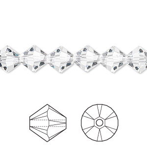 bead, swarovski crystals, crystal passions, crystal clear, 8mm xilion bicone (5328). sold per pkg of 12.