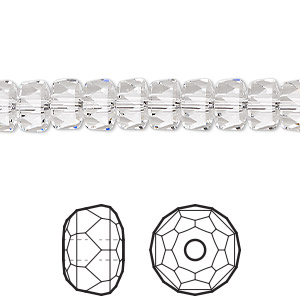 bead, swarovski crystals, crystal passions, crystal clear, 8x5mm faceted rondelle (5045). sold per pkg of 24.
