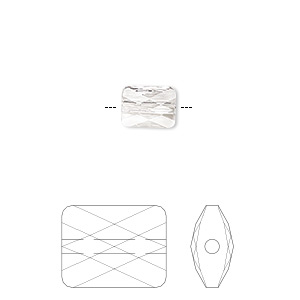 bead, swarovski crystals, crystal passions, crystal clear, 8x6mm faceted mini rectangle (5055). sold per pkg of 2.