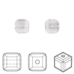 bead, swarovski crystals, crystal passions, crystal clear, 8x8mm faceted cube (5601). sold per pkg of 6.