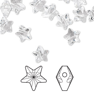 bead, swarovski crystals, crystal passions, crystal clear, 8x8mm faceted star (5714). sold per pkg of 8.