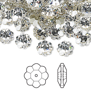 bead, swarovski crystals, crystal passions, crystal clear, foil back, 14x5mm faceted marguerite lochrose flower (3700). sold per pkg of 12.