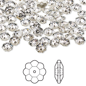 bead, swarovski crystals, crystal passions, crystal clear, foil back, 6x2mm faceted marguerite lochrose flower (3700). sold per pkg of 12.