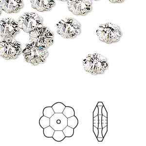 bead, swarovski crystals, crystal passions, crystal clear, foil back, 8x3mm faceted marguerite lochrose flower (3700). sold per pkg of 12.