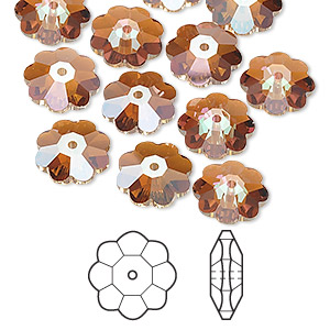 bead, swarovski crystals, crystal passions, crystal copper, 10x3.5mm faceted marguerite lochrose flower (3700). sold per pkg of 12.
