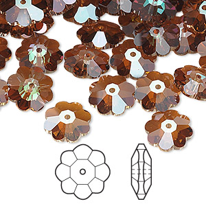 bead, swarovski crystals, crystal passions, crystal copper, 10x3.5mm faceted marguerite lochrose flower (3700). sold per pkg of 144 (1 gross).