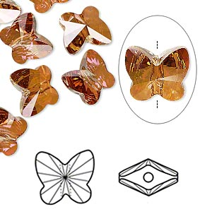 bead, swarovski crystals, crystal passions, crystal copper, 10x9mm faceted butterfly (5754). sold per pkg of 12.