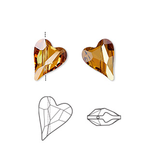 bead, swarovski crystals, crystal passions, crystal copper, 12x10mm diagonally drilled left- and right-facing faceted wild heart (5743). sold per pkg of 2.