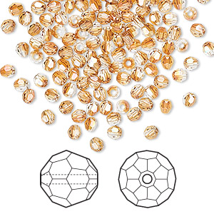 bead, swarovski crystals, crystal passions, crystal copper, 3mm faceted round (5000). sold per pkg of 144 (1 gross).