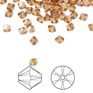 bead, swarovski crystals, crystal passions, crystal copper, 4mm xilion bicone (5328). sold per pkg of 48.