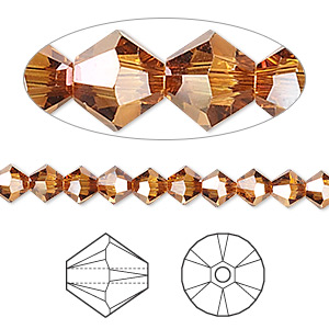 bead, swarovski crystals, crystal passions, crystal copper, 5mm xilion bicone (5328). sold per pkg of 24.