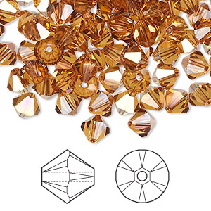 bead, swarovski crystals, crystal passions, crystal copper, 6mm xilion bicone (5328). sold per pkg of 144 (1 gross).